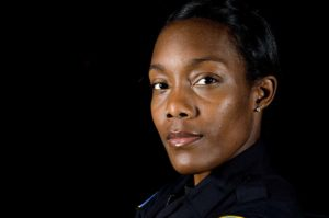 up-close face of female police officer